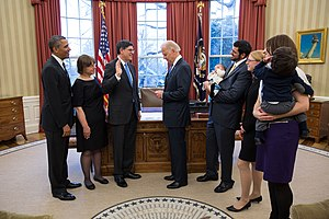 Jack Lew - Lew is sworn as Secretary of the Treasury by Vice President Joe Biden in the Oval Office of the White House, February 28, 2013.