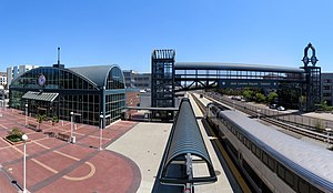 Jack London Square station with Capitol Corridor train, July 2020.jpg