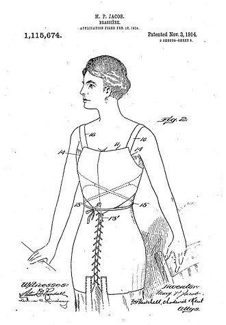 Caresse Crosby - Jacob's brassiere, from the original patent application.