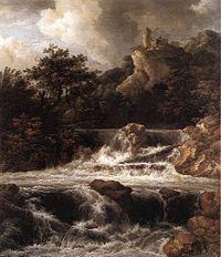 Jacob Isaacksz. van Ruisdael - Waterfall with Castle Built on the Rock - WGA20505.jpg