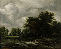 Jacob van Ruisdae - Wald nahe einem Weiher nach 1650 Oel auf Leinwand 59 x 72 5 cm C landesmuseum Hannover.jpg