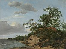 painting of sea, dunes and sky