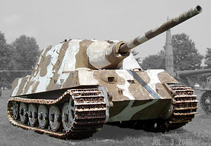 The Jagdtiger, one of the most formidable German tank destroyers. These specialised vehicles traded mobility for firepower and protection, reflecting the defensive and non-blitzkrieg nature of German operations in the second half of the war.
