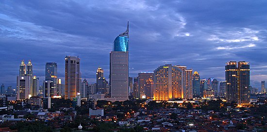Skyline of Jakarta, capital of Indonesia, the largest Muslim-majority country in the world. Jakarta Skyline Part 2.jpg