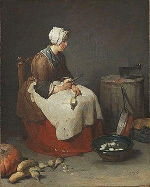 Jean-Baptiste-Siméon Chardin - Woman Cleaning Turnips, ca. 1738, Alte Pinakothek.