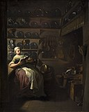 Jens Juel - Kitchen Interior with a Girl Reading - KMS7100 - Statens Museum for Kunst.jpg