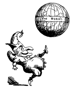 Jester kicking the world (Punch, volume 1, 1841)