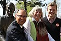Joe Cressy campaigning at the at the Jack Layton statue with Councillor Pam McConnell and MPP Rosario Marchese.jpg