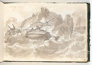 Skibsforlis ved en klippekyst. Nogle mænd står på en klippe og ser til