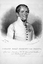 Print of Johann Maria Philipp Frimont in simple white Austrian uniform