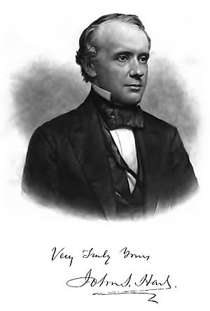 John Seely Hart - Engraving of John Seely Hart with his signature.