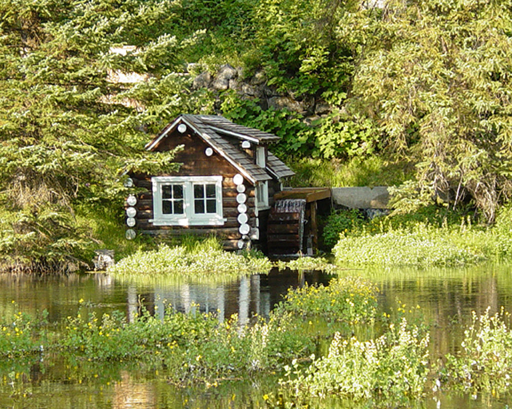 johnny sack cabin in idaho as seen from across the river during the summer