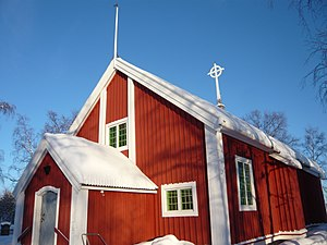Jukkasjärvi - The Jukkasjärvi Church in February 2009.