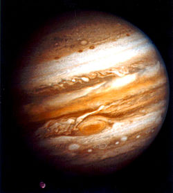 One of the first Voyager 1 photos of Jupiter