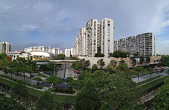 Jurong West - Jurong West Town Centre. The building complexes are, from left to right, Jurong West Community Building, Jurong Point Shopping Centre, The Centris, Boon Lay Bus Interchange and Boon Lay MRT Station.