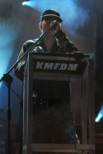 Sascha Konietzko performing in Bolków, Poland in July 2009 KMFDM Castle Party 2009 07.jpg