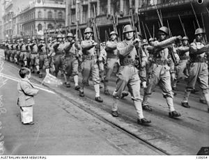 Royal Netherlands East Indies Army - KNIL troops marching through Melbourne, Australia, on 14 June 1943.