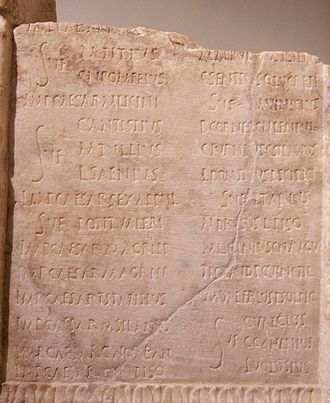 Roman calendar - A fragment of an imperial consular list