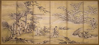 Filial piety - Painting with scenes from The Twenty-four Cases of Filial Piety. Kano Motonobu, 1550