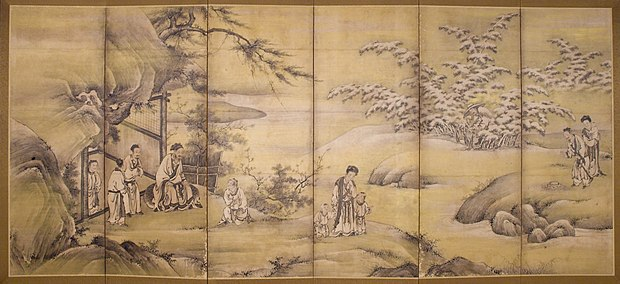 Painting with scenes from The Twenty-four Cases of Filial Piety. Kano Motonobu, 1550
