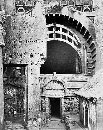 Karla Caves - The Great Chaitya, partially obscured from view, in the 19th century.