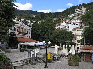 The central square of Karpenisi, in Evritania ...