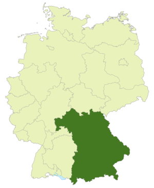 Bayernliga - Map of Germany: Bavarian football association highlighted