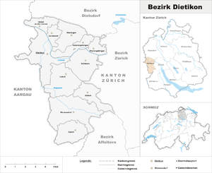 Dietikon District - Image: Karte Bezirk Dietikon 2007