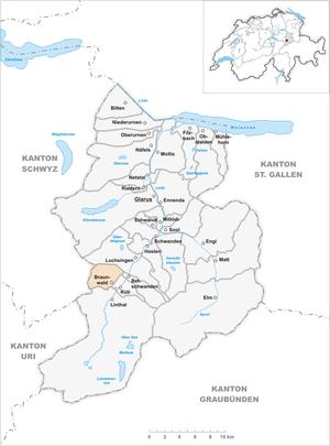 Braunwald, Glarus - Image: Karte Gemeinde Braunwald 2007