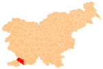 The location of the Municipality of Hrpelje–Kozina