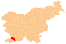 Location o the Municipality o Hrpelje–Kozina in Slovenie