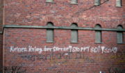 "SDI drew criticism from abroad as well. This 1986 Socialist German Workers Youth graffiti in Kassel, West Germany says ""Keinen Krieg der Sterne! Stoppt SDI! SDAJ"" or (No star wars! Stop SDI! SDAJ."