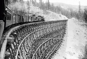 Kettle Valley Railway - Train on the Kettle Valley Railway crossing trestle at Sirnach Creek, 1916