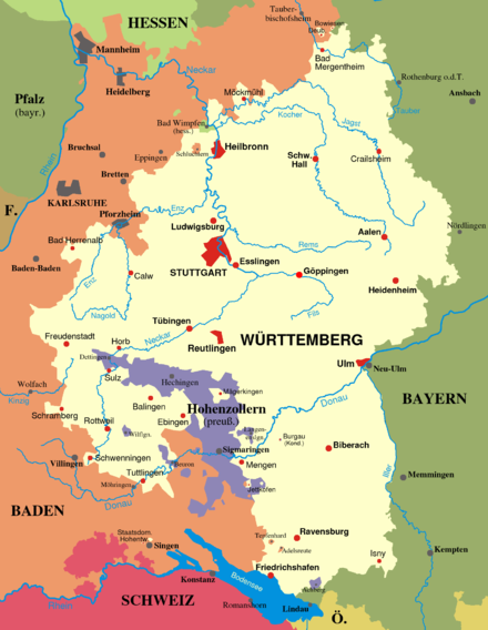 Kingdom of Wurttemberg as it existed from the end of the Napoleonic Wars to the end of World War I. From 1815 to 1866 it was a member state of the German Confederation and from 1871 to 1918 it was a federal state in the German Empire. KgrWuerttemberg.png