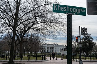 """Jamal Khashoggi - Street sign that says """"Khashoggi Way"""" in front of the White House, put up by prankster activists"""