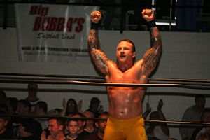 Kid Kash - Kash wrestling at an independent event in May 2012.