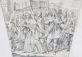 King Pedro accompanies the host (decoration for the memorial service to King Pedro II of Portugal, Rome, S. Antonio de' Portoghesi, 1707) - Carlo Fontana.png