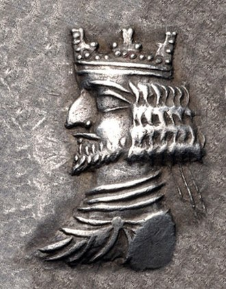Kings of Persis - King of Persis Ardashir II with crown, 1st century BCE.
