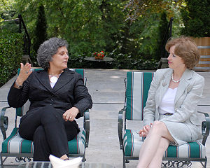 Kinga Göncz - Kinga Göncz, Foreign Minister of Hungary (left) with April Foley, United States Ambassador to Hungary (right). Budapest, May 2008