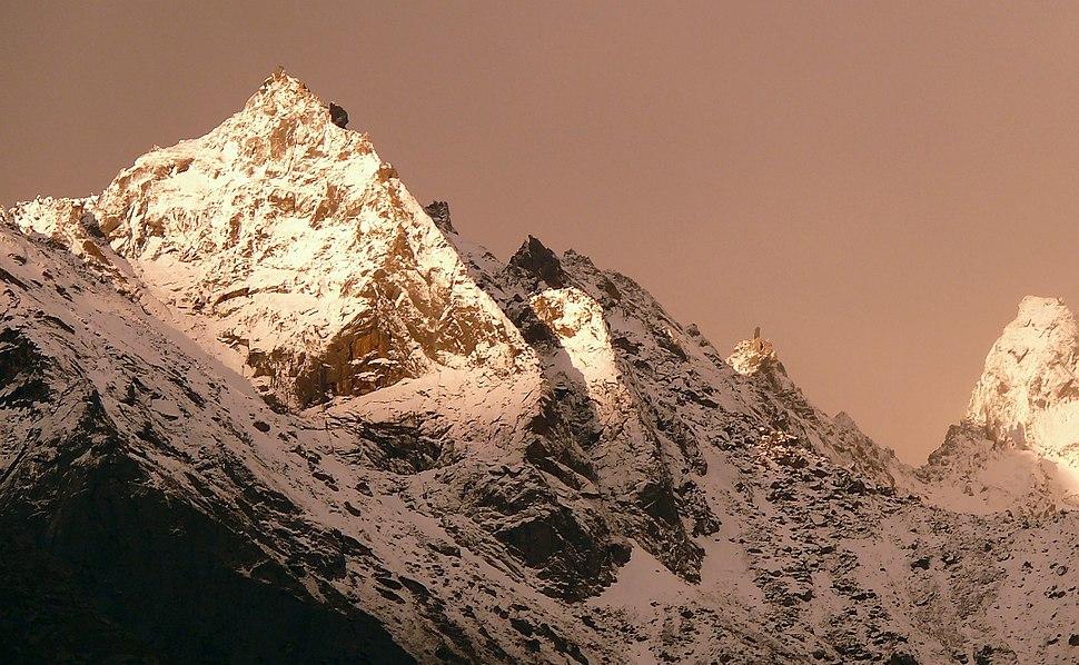 Kinnaur Kailash with Monolithic pillar a 79 feet vertical rock formation that resembles a Shivalinga