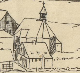 Klingenthal - The original wooden Zum Friedefürsten church of Klingenthal in 1726