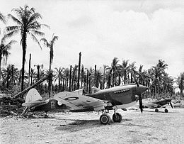 Two single-engined military aircraft parked on field in front of palm trees