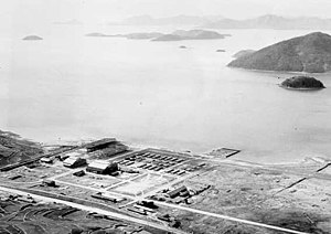 Jinhae Airport - Aerial view of Jinhae in 1950