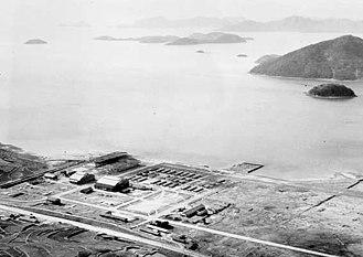 Jinhae Airport - Aerial view of Jinhae in 1950
