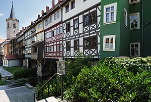 Timber framing - Krämerbrücke in Erfurt, Germany, with half timbered buildings