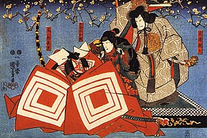 Kumadori - The hero of Shibaraku, wearing kumadori makeup. Print by Utagawa Kuniyoshi.
