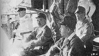 Jinichi Kusaka - Kusaka (center) with Combined Fleet Commander Admiral Isoroku Yamamoto (left) at Rabaul in April 1943 during Operation I-Go shortly before Yamamoto's death.