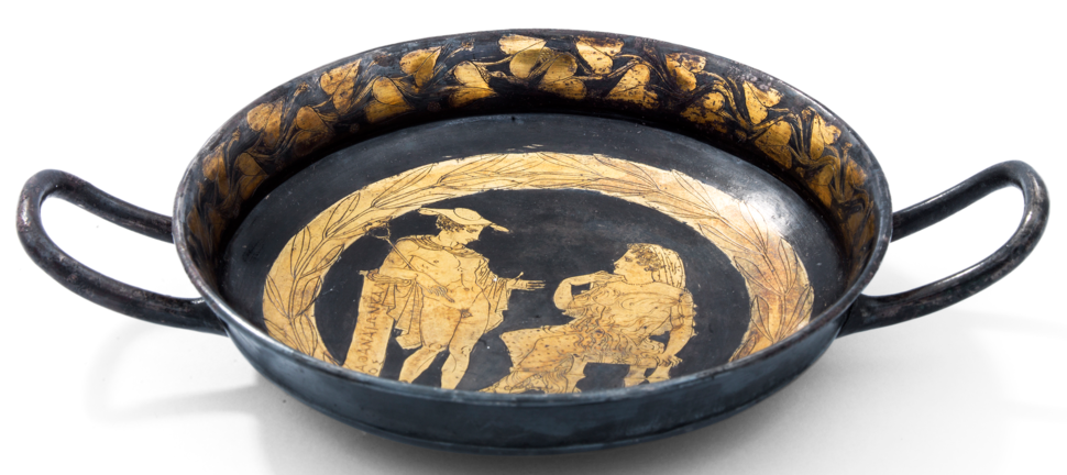 Kylix 61.7 with Helen and Hermes, ca. 420 BC, part of the Vassil Bojkov collection, Sofia, Bulgaria