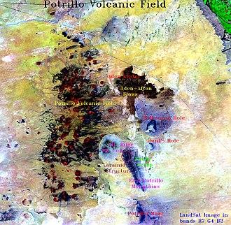 Potrillo volcanic field - False-color image of Potrillo volcanic field by Sarah Quiñonez