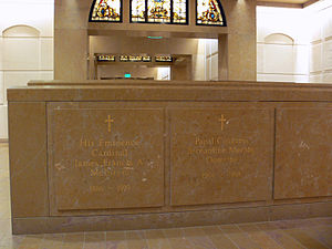 James Francis McIntyre - The former tomb of James McIntyre in the crypt of the Cathedral of Our Lady of the Angels, Los Angeles, it has since been moved.